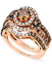 Le Vian | Metallic Chocolate Diamond (1-3/4 Ct. T.w.) And White Diamond (1/2 Ct. T.w.) Ring Set In 14k Rose Gold | Lyst