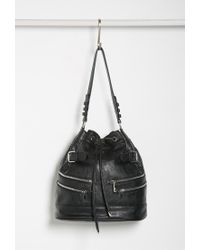 Forever 21 | Black Zippered Bucket Shoulder Bag | Lyst