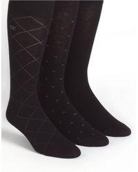 Calvin Klein | Black Three-pack Dress Socks for Men | Lyst