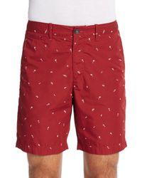 Original Penguin - Red Basic Printed Cotton Shorts for Men - Lyst