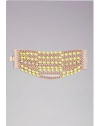 Bebe Yellow Chain  Gem Bracelet