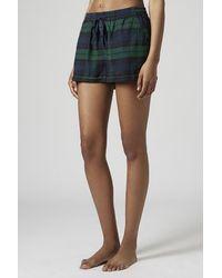 TOPSHOP Green Checked Pyjama Shorts