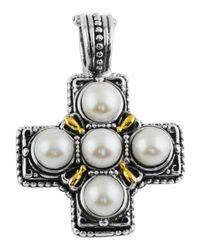 Konstantino | Metallic Silver & 18k Pearl Square Cross Pendant Enhancer | Lyst