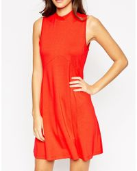 ASOS | Red Bow Back Sleeveless Babydoll Dress | Lyst