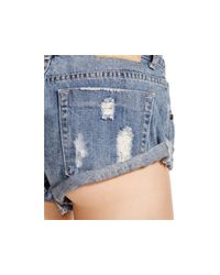 One Teaspoon - Blue Bandits Distressed Denim Shorts In Husk - Lyst