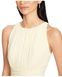 Lauren by Ralph Lauren - Natural Ruched Sleeveless Dress - Lyst