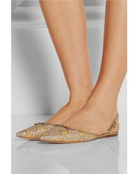 Rochas - Yellow Floral-Jacquard Point-Toe Flats - Lyst
