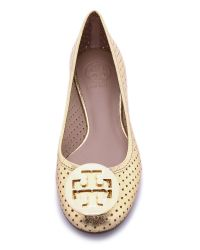 Tory Burch Metallic Perforated Reva Ballet Flat