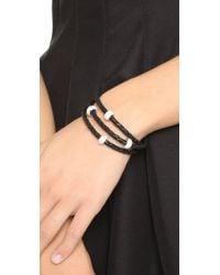 Liza Schwartz - Black Sobe Bedazzle Leather Wrap Bracelet - Lyst