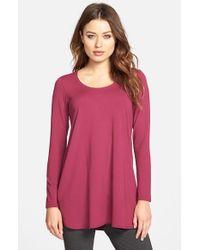 Eileen Fisher - Purple Scoop Neck Jersey Tunic - Lyst