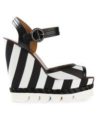 Dolce & Gabbana - Black Striped Wedge Sandals - Lyst