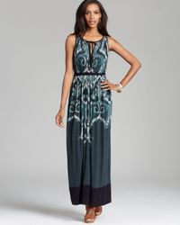 Adrianna Papell | Blue Printed Maxi Dress | Lyst