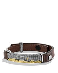 David Yurman | Brown Waves Id Bracelet With Gold | Lyst