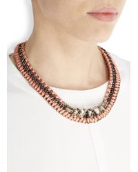 John & Pearl | Multicolor Rose Gold-Plated Swarovski Woven Necklace | Lyst