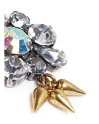 Lulu Frost | Metallic 'lana' Crystal Flower Spike Stud Earrings | Lyst