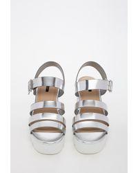 Forever 21 Metallic Patent Faux Leather Platform Sandal