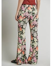 Free People | Black Lucina Floral Hippie Pant | Lyst