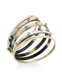 Lauren by Ralph Lauren - Metallic Goldtone Horn and Turquoise Cabochon Bangle Bracelet Set - Lyst