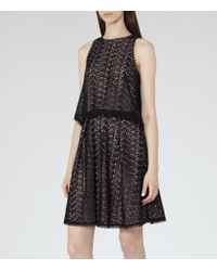 Reiss - Black Layered Lace Dress - Lyst