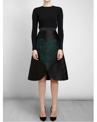 Stella McCartney - Green Lace Embroidered Satin Skirt - Lyst