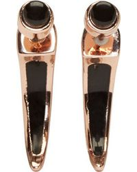 Pamela Love - Pink Rose Gold And Onyx Horn Earrings - Lyst