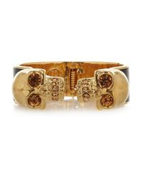 Alexander McQueen | Metallic Goldtone Swarovski Crystal and Leather Cuff | Lyst