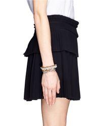 Venna | Metallic Multi Chain Pearl Crystal Bracelet | Lyst