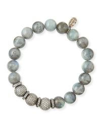 Sheryl Lowe - Metallic 10Mm Labradorite & Pave Diamond Bracelet - Lyst