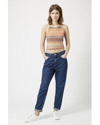 TOPSHOP - Multicolor Crochet Square Neck Crop Top - Lyst