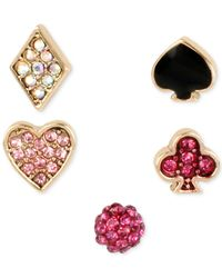 Betsey Johnson | Multicolor Gold-tone Pavé Card Suit Stud Earring Set | Lyst