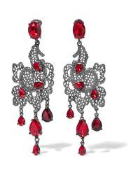 Oscar de la Renta | Red Silver-plated Swarovski Crystal Clip Earrings | Lyst