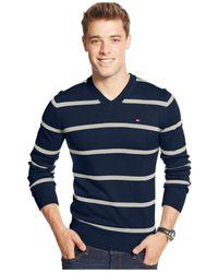 Tommy Hilfiger | Blue Signature Stripe V-neck Sweater for Men | Lyst