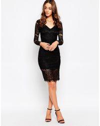 Sistaglam - Black Nina Long Sleeve Lace Dress - Lyst
