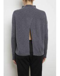 INHABIT | Gray Cashmere Back Slice Mock Neck Pullover | Lyst