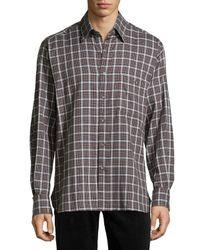 Ike Behar - Purple Check Sport Shirt for Men - Lyst