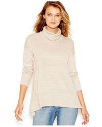 Kensie - Natural Space-dye Cowl-neck Sweater - Lyst