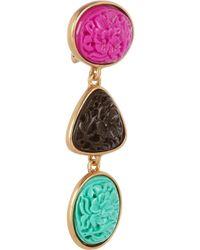Oscar de la Renta Multicolor Goldplated Carved Cabochon Clip Earrings
