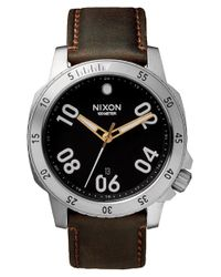 Nixon | Black 'the Ranger' Leather Strap Watch for Men | Lyst