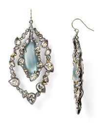Alexis Bittar Blue Lucite Jagged Edge Crystal Framed Orbital Wire Earrings