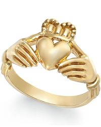 Macy's - Yellow Men's Claddagh Ring In 10k Gold - Lyst