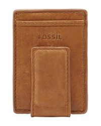 Fossil Brown 'ingram' Leather Magnetic Money Clip Card Case for men
