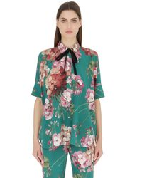Gucci | Green Blooms Printed Silk Georgette Shirt | Lyst
