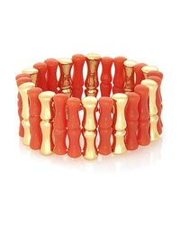 Rose Pierre | Orange Bamboo On The Beach Stretch Bracelet | Lyst