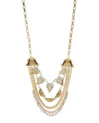 Lydell NYC - Multicolor Multi-strand Crystal Drop Necklace - Lyst