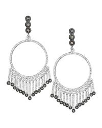 Coomi - Metallic Spring Silver Open-circle Earrings With Diamonds - Lyst