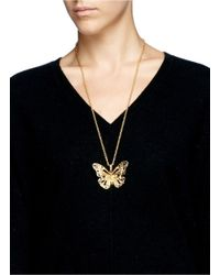 Alexander McQueen | Metallic Butterfly Skull Necklace | Lyst