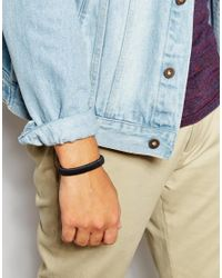 ASOS Smart Leather Bracelet In Black for men