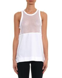 Adidas By Stella McCartney - White Mesh-Panel Jersey Tank Top - Lyst