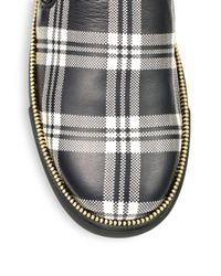 Alexander McQueen - Black Plaid Zip Slipon Sneakers for Men - Lyst
