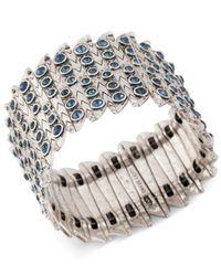 Lucky Brand - Metallic Silver-Tone Blue Stone Stretch Bracelet - Lyst